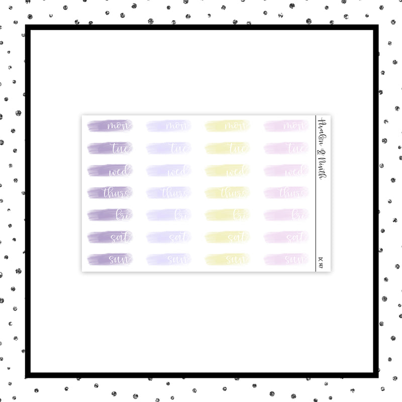Brush Stroke Date Covers // Planner Stickers // DC147