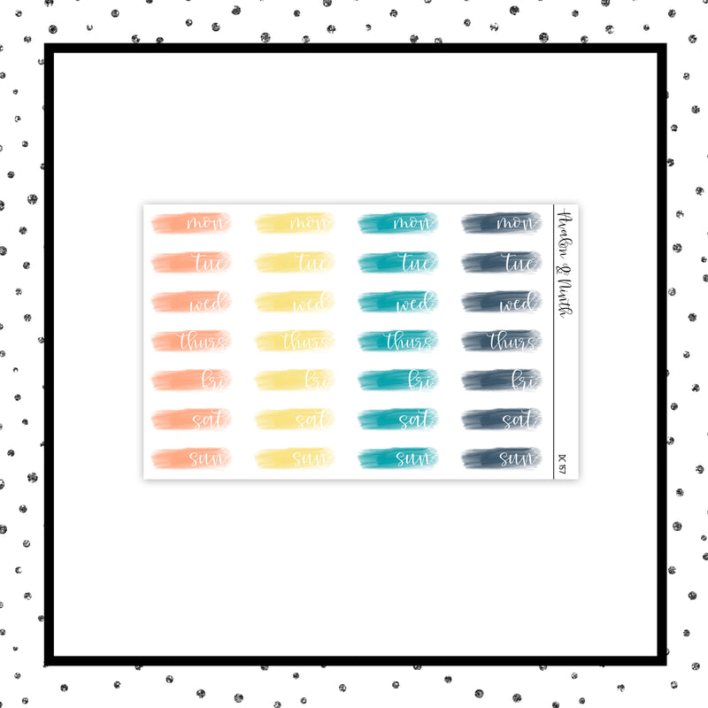 Brush Stroke Date Covers // Planner Stickers // DC157