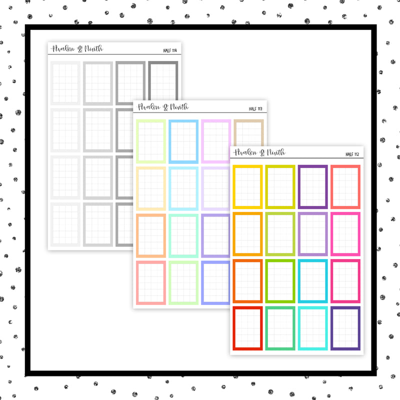 Half Squared Grid Boxes // Planner Stickers // HALF112-114