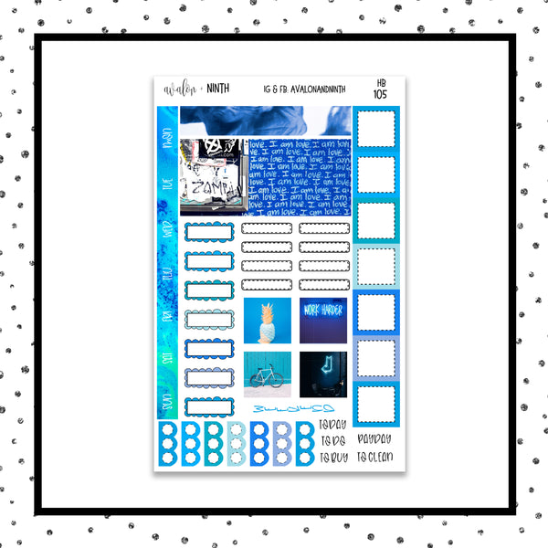Blue Hobonichi Kit // Planner Stickers // HB105