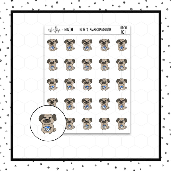 Mojo the Pug Laundry Doodle Stickers // Planner Stickers // Icon Stickers // HDCH101