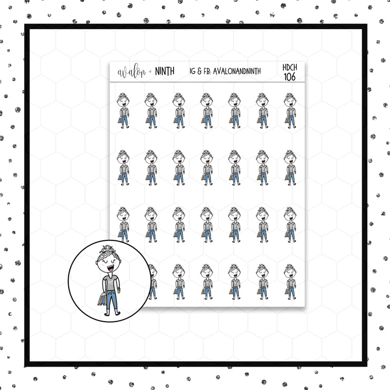 Elle is Shopping Doodle Stickers // Planner Stickers // Icon Stickers // HDCH106