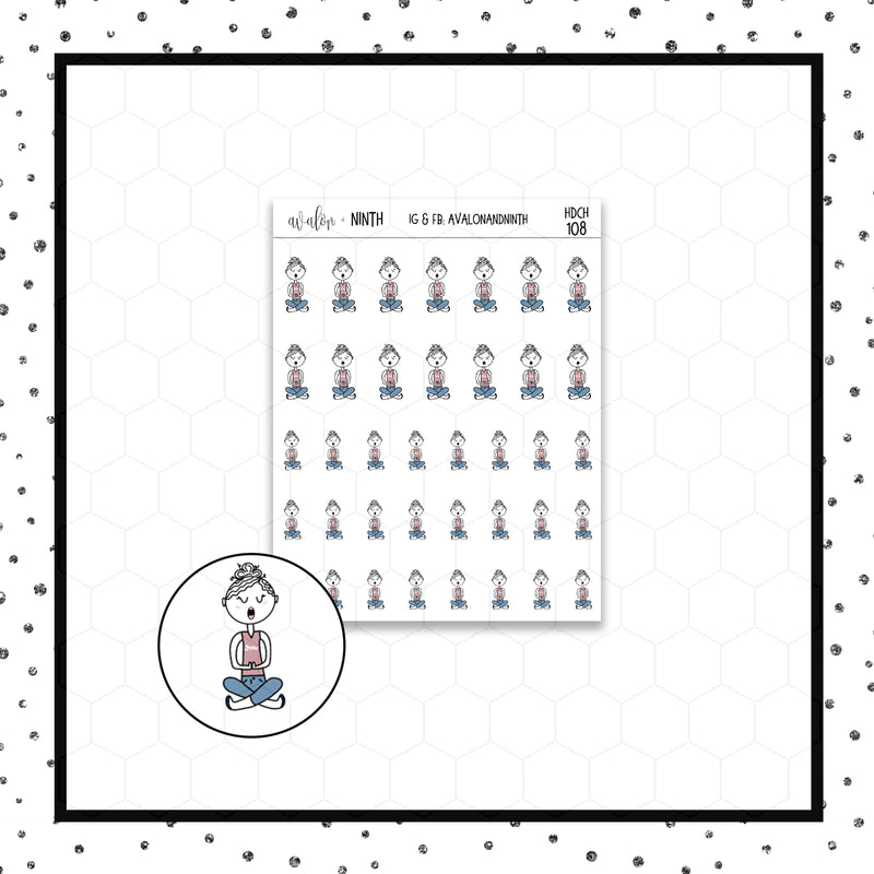 Elle is Meditating/Yoga Stickers // Planner Stickers // Icon Stickers // HDCH108