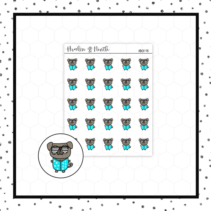 Mojo the Pug is Looking Cool Doodle Stickers // Planner Stickers // Icon Stickers // HDCH115