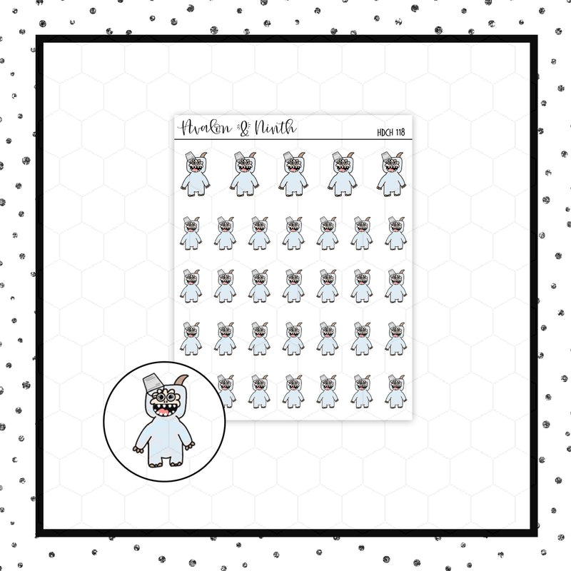 Yeti with a Bucket Doodle Stickers // Planner Stickers // Icon Stickers // HDCH118