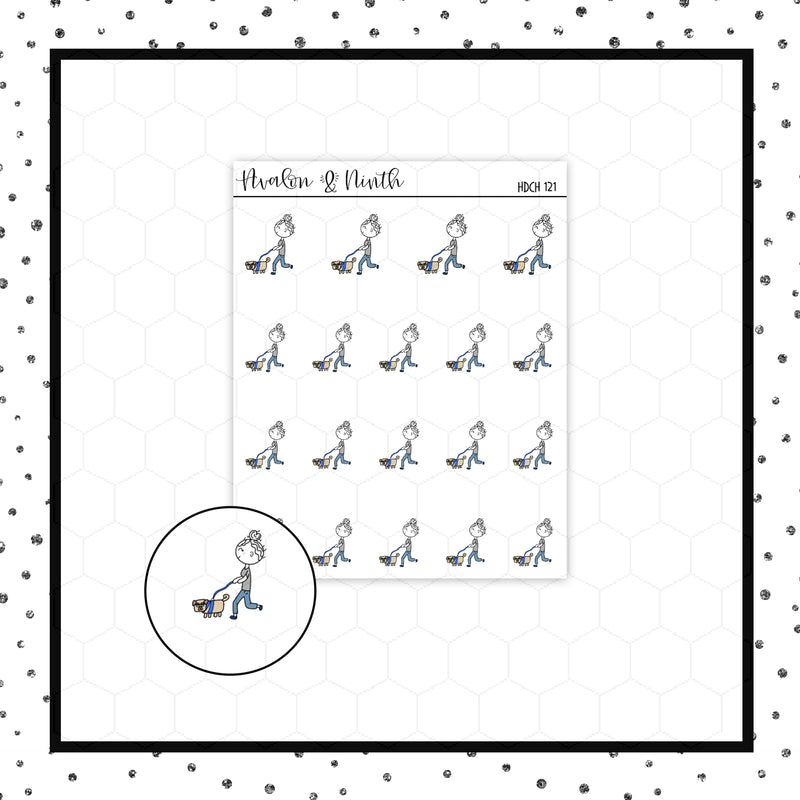 Elle is Walking the Dog Doodle Stickers // Planner Stickers // Icon Stickers // HDCH121
