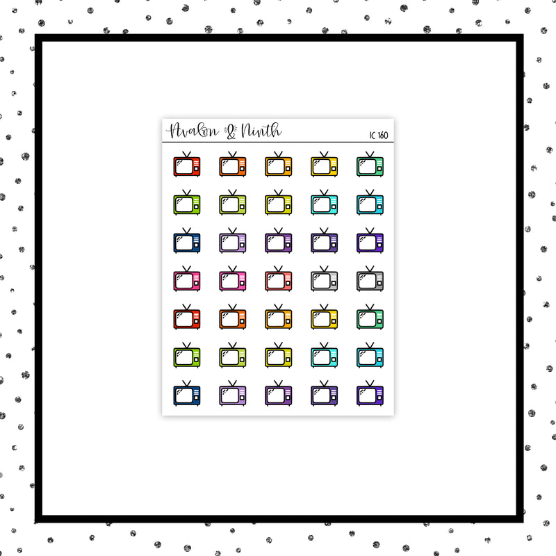 TV Icon // Planner Stickers // Rainbow Stickers // IC160