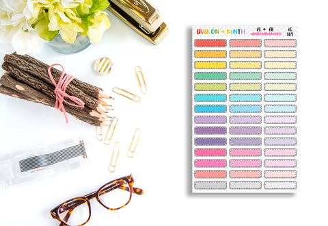 Rainbow Color-way Blank Label Stitched Boxes // Planner Stickers // IC169