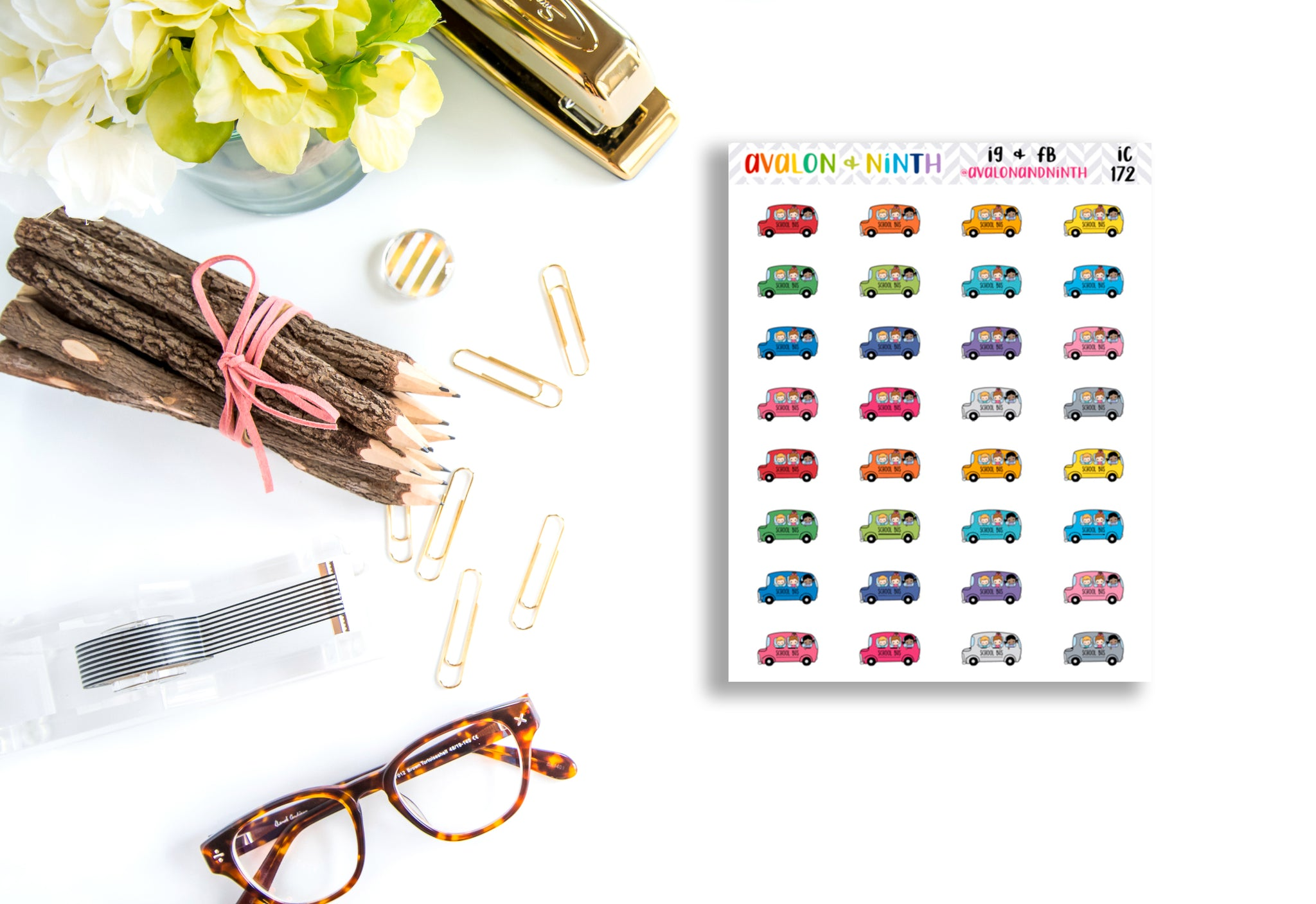 School Bus Stickers // Planner Stickers // Icon Stickers // IC172
