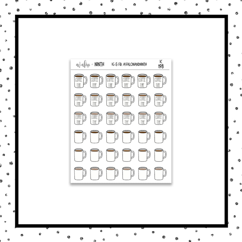 Coffee Time Icon Stickers // Planner Stickers // Icon Stickers // IC198