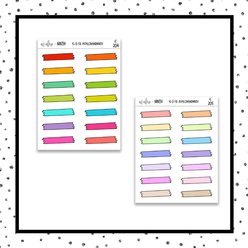Washi Tape Tear Strip Icon Stickers // Planner Stickers // Icon Stickers // IC204-205