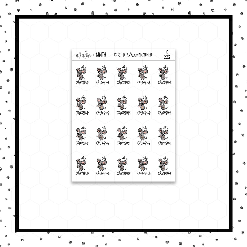 Mouse Oh Cheesus Doodle Stickers // Planner Stickers // Icon Stickers // IC222