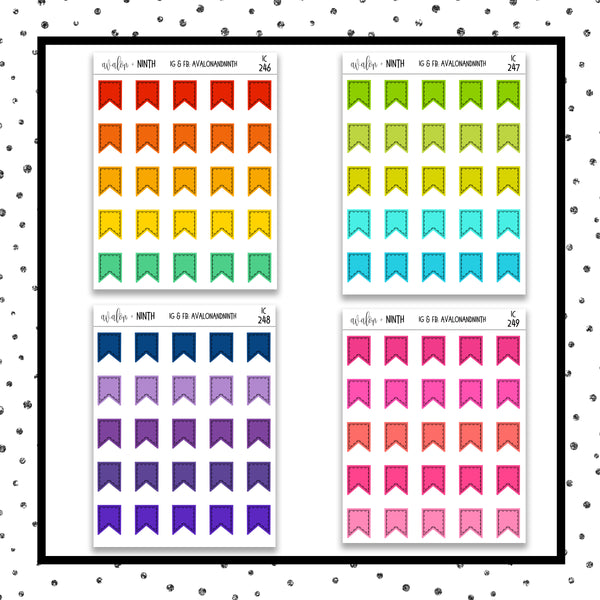 Page Flag Icon Stickers // Planner Stickers // Icon Stickers // IC246-253