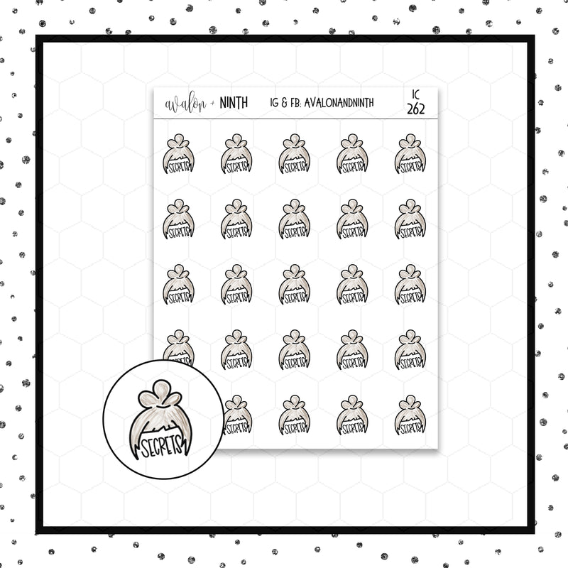 Secrets Doodle Stickers // Planner Stickers // Icon Stickers // IC262