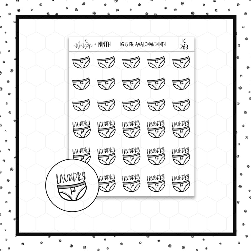 Laundry/Underwear Doodle Stickers // Planner Stickers // Icon Stickers // IC263