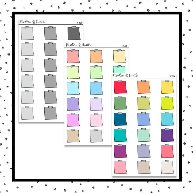 Pastel Sticky Note Stickers // Planner Stickers // IC266, 303, 304