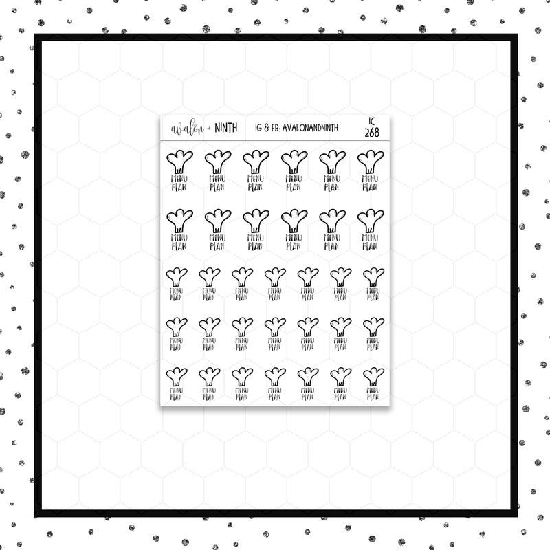 Menu Plan Doodle Stickers // Planner Stickers // Icon Stickers // IC268