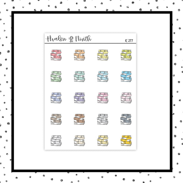 Pastel Book Stack Stickers // Planner Stickers // Icon Stickers // IC277
