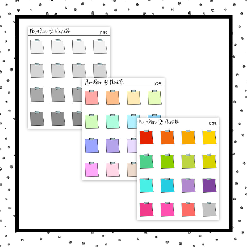 Mini Sticky Note Stickers // Planner Stickers // IC293-295