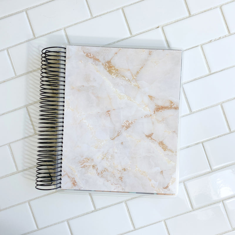 Gold Marble Cover // A&N 7x9 Planner // Coiled Planner // Undated Planner