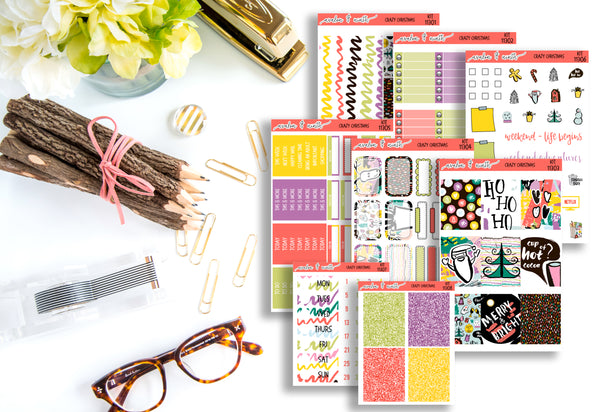 Crazy Christmas Weekly Kit // A La Carte Kit // Planner Stickers // KIT11301