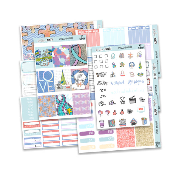 Awesome Autism Weekly Kit // A La Carte Kit // Planner Stickers // KIT13801
