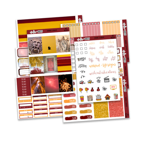 Daring and Brave Weekly Kit // A La Carte Kit // Planner Stickers // KIT14201