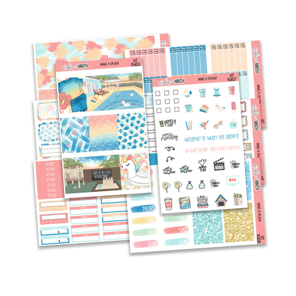 Make A Splash Weekly Kit // A La Carte Kit // Planner Stickers // KIT15601