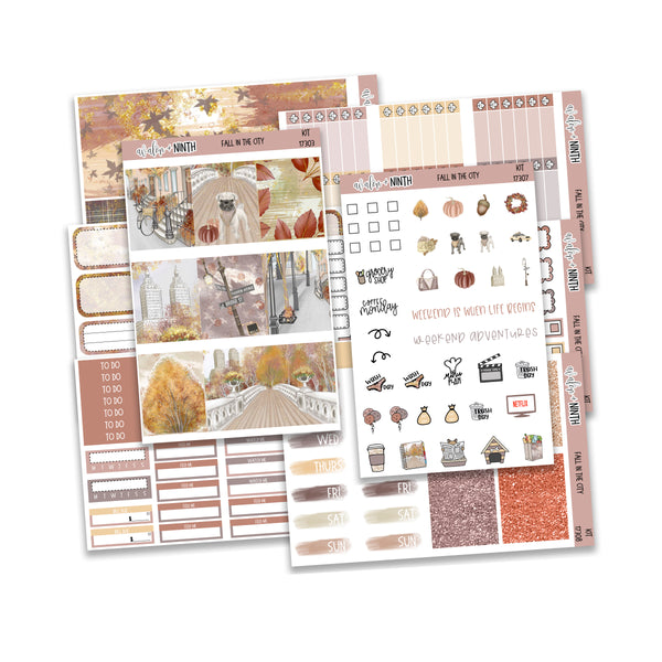 Fall In The City Weekly Kit // A La Carte Kit // Planner Stickers // KIT17301