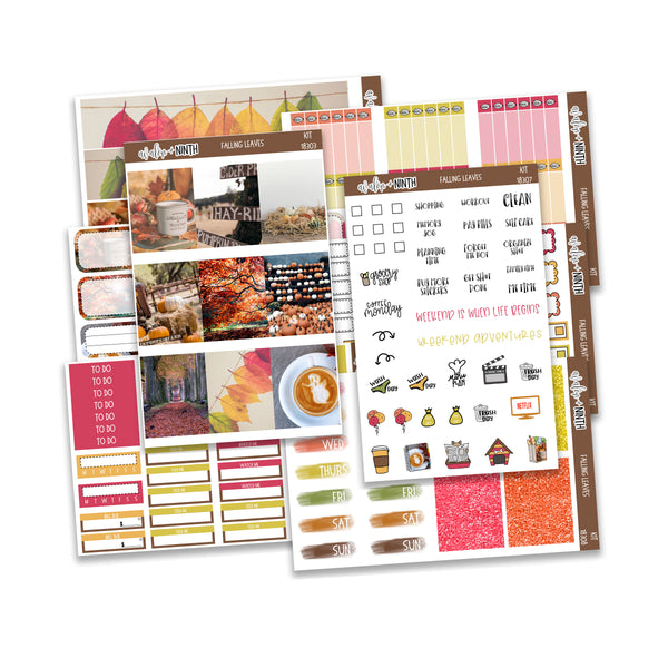 Falling Leaves Weekly Kit // A La Carte Kit // Planner Stickers // KIT18301