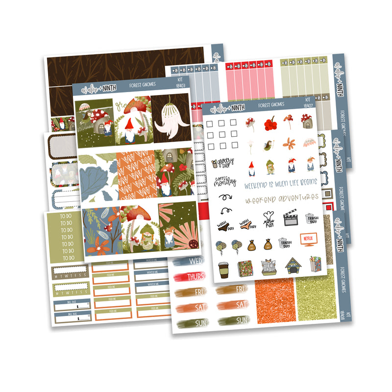 Forest Gnomes Weekly Kit // A La Carte Kit // Planner Stickers // KIT18401