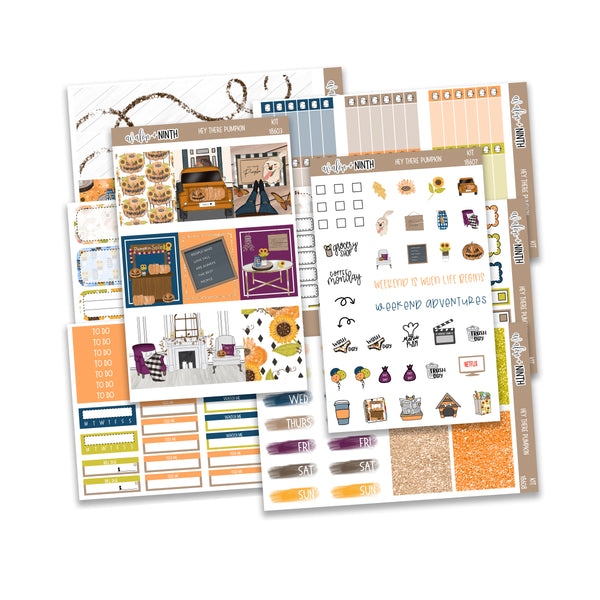 Hey There Pumpkin Weekly Kit // A La Carte Kit // Planner Stickers // KIT18601