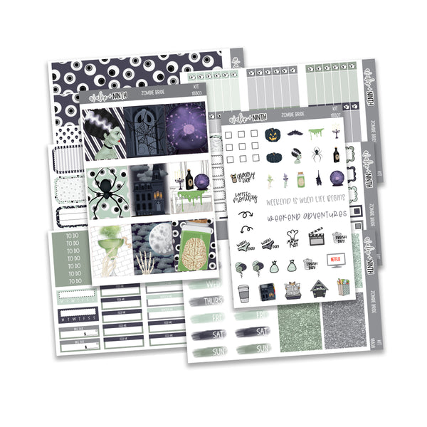 Zombie Bride Weekly Kit // A La Carte Kit // Planner Stickers // KIT18801