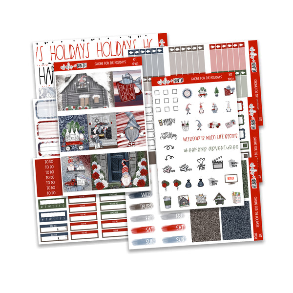 Gnome For The Holidays Weekly Kit // A La Carte Kit // Planner Stickers // KIT19101
