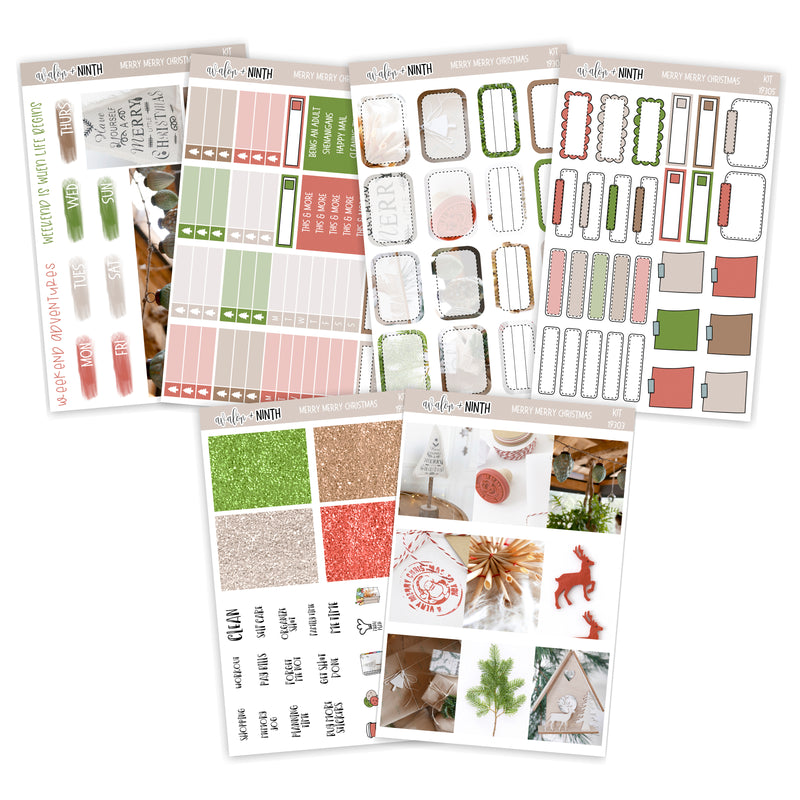 Merry Merry Christmas Weekly Kit // A La Carte Kit // Planner Stickers // KIT19301