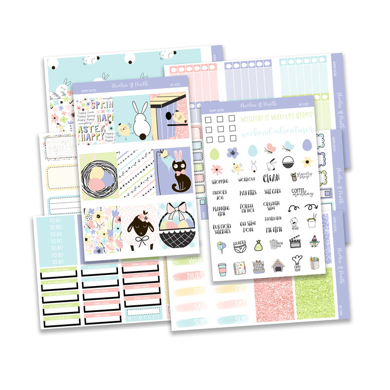 Hoppy Easter Weekly Kit // A La Carte Kit // Planner Stickers // KIT22201