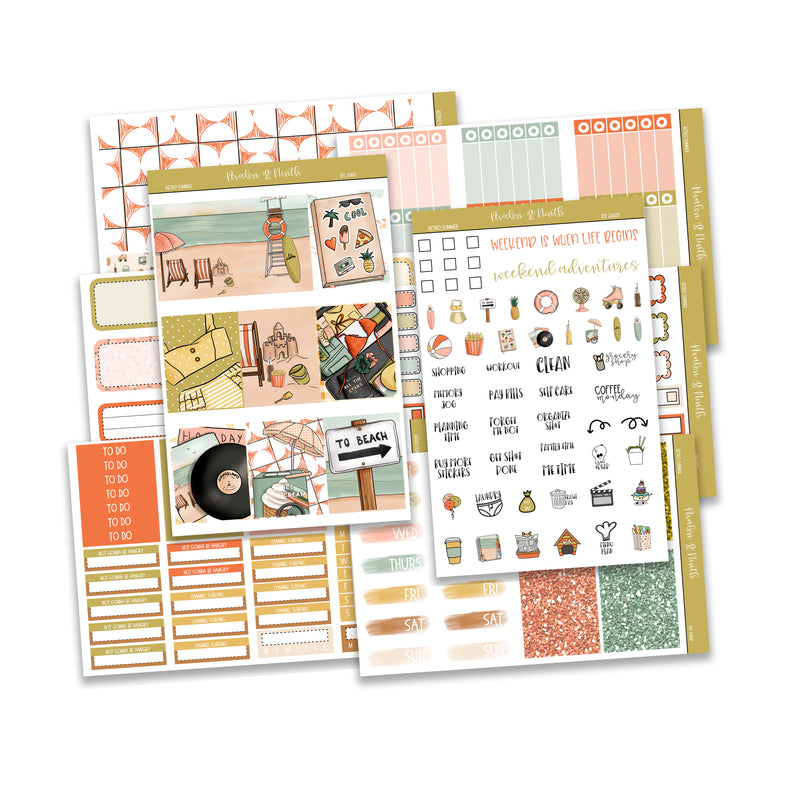 Retro Summer Weekly Kit // A La Carte Kit // Planner Stickers // KIT22601