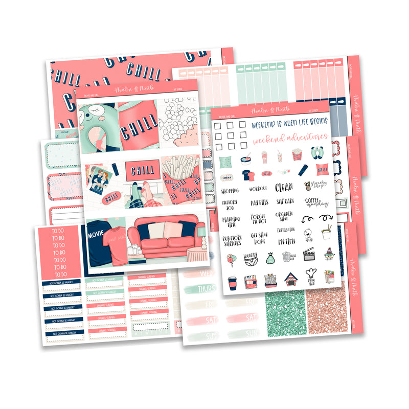 Movie and Chill Weekly Kit // A La Carte Kit // Planner Stickers // KIT22801
