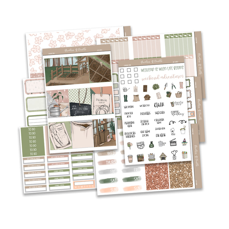 Garden Time Weekly Kit // A La Carte Kit // Planner Stickers // KIT23801