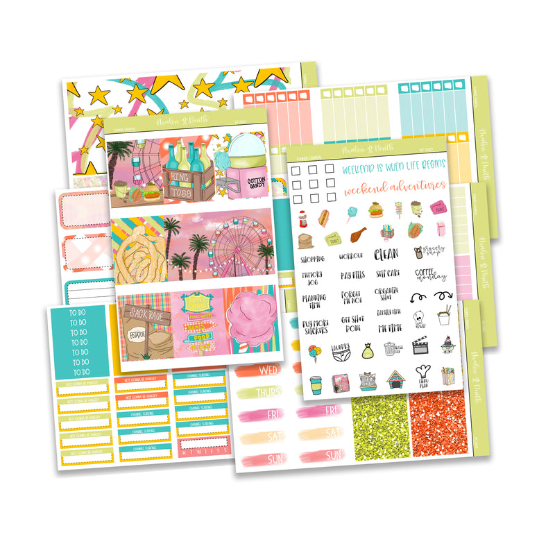 Summer Carnival Weekly Kit // Exclusive Art // A La Carte Kit // Planner Stickers // KIT24201
