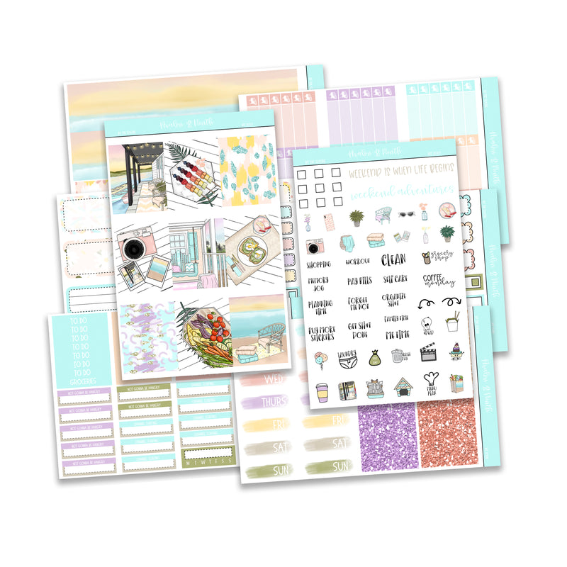 By the Seaside Weekly Kit // A La Carte Kit // Planner Stickers // KIT25101