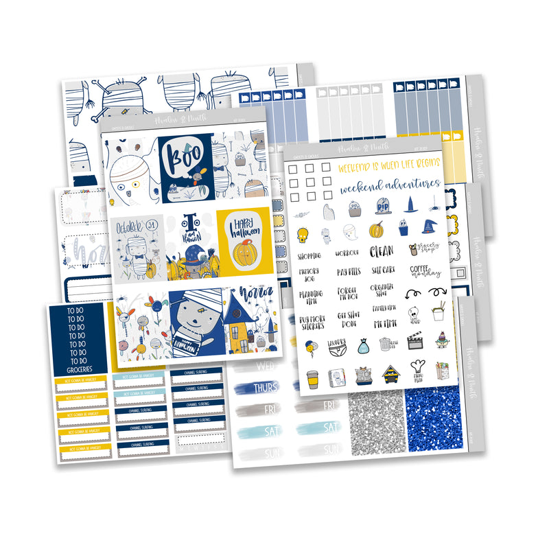 Ghosts and Ghouls Weekly Kit // A La Carte Kit // Planner Stickers // KIT25301