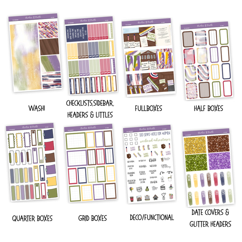 19th Amendment Weekly Kit // A La Carte Kit // Exclusive Art // Planner Stickers // KIT26001