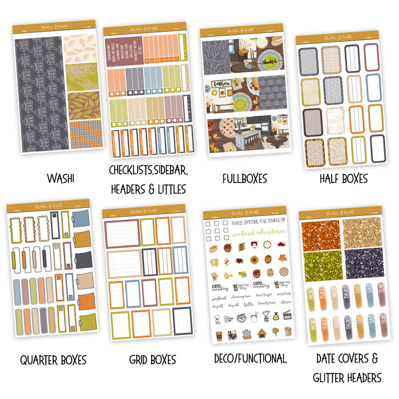 Thankful Weekly Kit // A La Carte Kit // Exclusive Art // Planner Stickers // KIT26601
