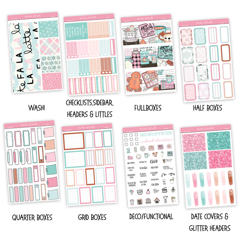 Hot Cocoa Day Weekly Kit // A La Carte Kit // Planner Stickers // KIT27801