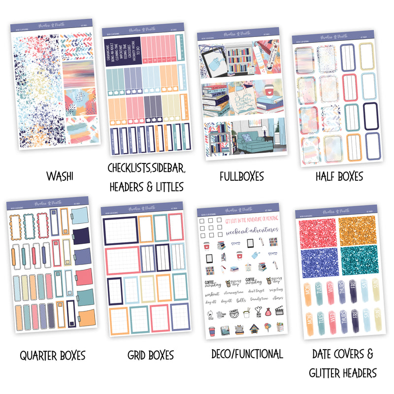 Book Club Reading Weekly Kit // A La Carte Kit // Exclusive Art // Planner Stickers // KIT28601