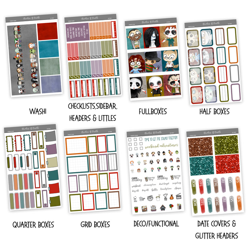 Horror Squad Weekly Kit // A La Carte Kit // Planner Stickers // KIT29301