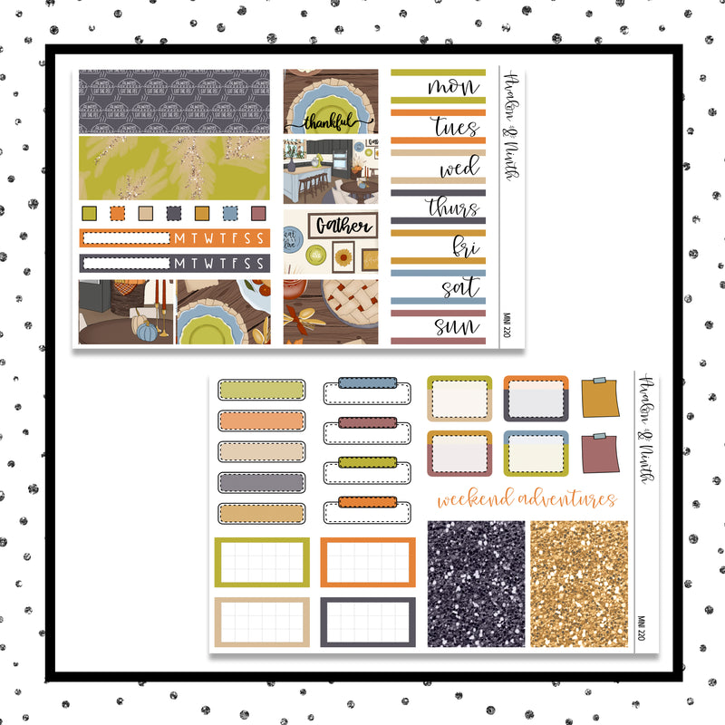 Thankful Mini Kit // Planner Stickers // A&N Weeks // PPWeeks // MINI220