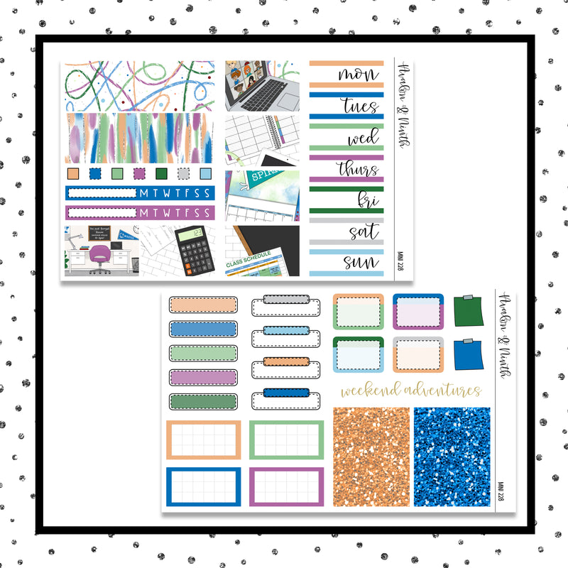 Virtual Learning Mini Kit // Planner Stickers // A&N Weeks // PPWeeks // MINI228