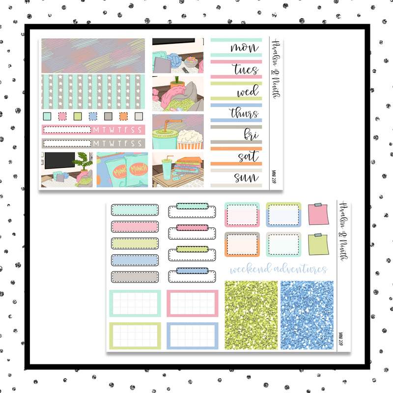 Family Movie Night Mini Kit // Planner Stickers // A&N Weeks // PPWeeks // MINI239